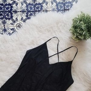 ZARA long black linen dress with criss-cross back